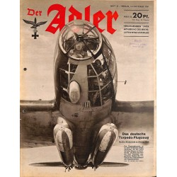 0777	 DER ADLER	 -No.	21	-1941	 vintage German Luftwaffe Magazine Air Force WW2 WWII