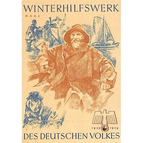 5247 WHW sticker 1938/1939 März fishermanWinterhilfswerk Third Reich collection