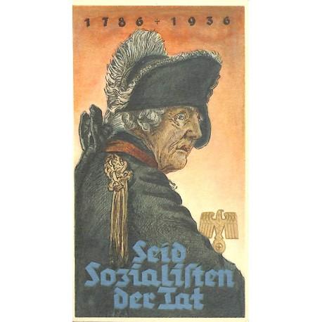 5258 WHW sticker 1935/1936 Frederick the Great King of Prussia Seid Sozialisten der Tat 1786-1936 König Friedrich II.