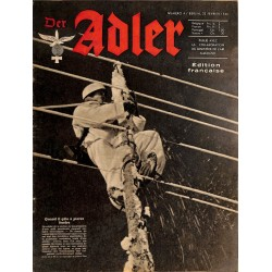 0791	 DER ADLER	 -No.	4	-1943 French edition/ edition francaise	 vintage German Luftwaffe Magazine Air Force WW2 WWII