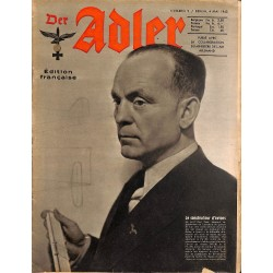 0793	 DER ADLER	 -No.	9	-1943 French edition/ edition francaise	 vintage German Luftwaffe Magazine Air Force WW2 WWII