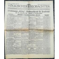 """10756 Kampfzeit VÖLKISCHER BEOBACHTER No. 70 21./22.Juni 1925 Stresemanns """"Erfolg"""" Durchmarschrecht für Frankreich"""