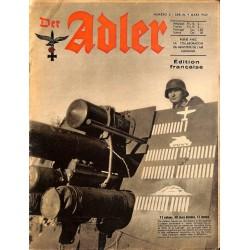 0794 DER ADLER -No.5-1943 French edition/ edition francaise vintage German Luftwaffe Magazine Air Force WW2 WWII