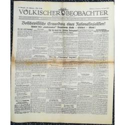 10762 Kampfzeit VÖLKISCHER BEOBACHTER No. 77 30.Juni 1925 Bolschewistische Ermordung eines Nationalsozialisten