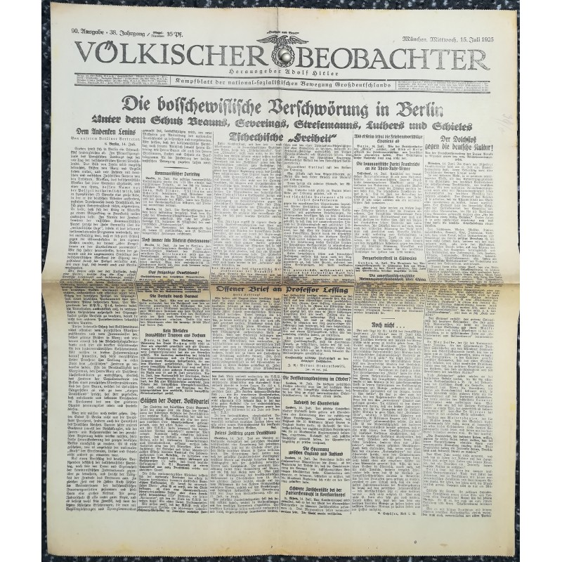 10772 Kampfzeit VÖLKISCHER BEOBACHTER No. 90 15.Juli 1925 Die  bolschewistische Verschwörung in Berlin ...