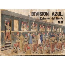10473 Poster Division Azul 1941 Estacion del Norte soldiers train