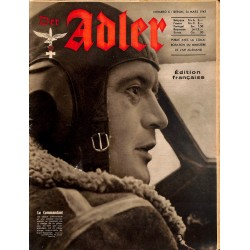 0797	 DER ADLER	 -No.	6	-1942 French edition/ edition francaise	 vintage German Luftwaffe Magazine Air Force WW2 WWII