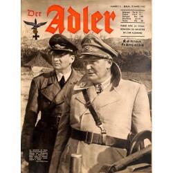 0798 DER ADLER -No.5-1942 French edition/ edition francaise vintage German Luftwaffe Magazine Air Force WW2 WWII