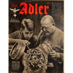 0799	 DER ADLER	 -No.	2	-1942 French edition/ edition francaise	 vintage German Luftwaffe Magazine Air Force WW2 WWII