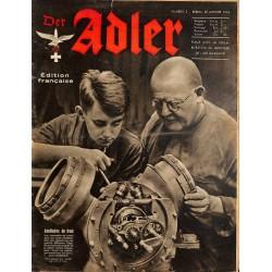 0799 DER ADLER -No.2-1942 French edition/ edition francaise vintage German Luftwaffe Magazine Air Force WW2 WWII