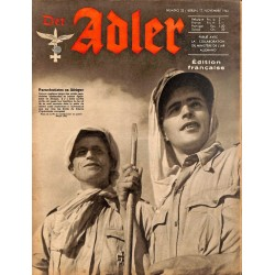 0802	 DER ADLER	 -No.	23	-1942 French edition/ edition francaise	 vintage German Luftwaffe Magazine Air Force WW2 WWII -
