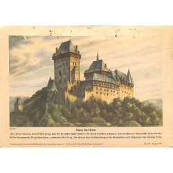 10358	 Third Reich print 	 fortress Burg Karlstein near Prague, printed 1941