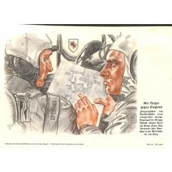 """10338 Third Reich print  Wolf Willrich Luftwaffe pilots """"Sie fliegen gegen England"""" Englad bomb raid, printed 1940"""