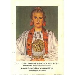 10332 Third Reich print  Wolf Willrich painting Deutsche Jungmadelfuhrerin in Siebenburgen Romania, printed 1939,