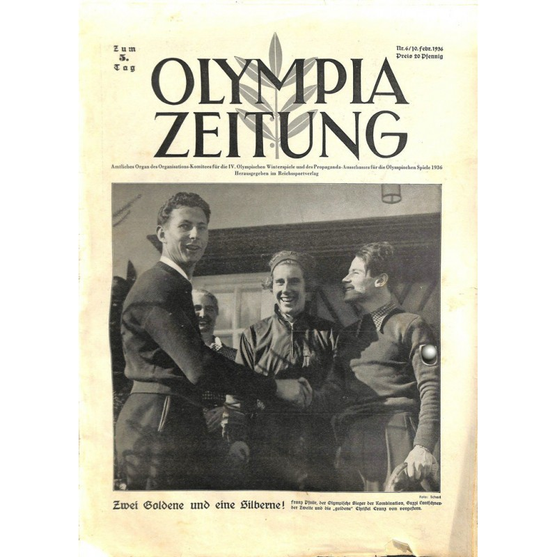 9743 Third Reich Olympic Winter Games Olympia Zeitung No 6 1936 10 Februar 5th Day Of The Games Wartimeline Historic German Magazines