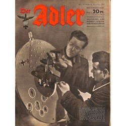 0826	 DER ADLER	 -No.	9	-1944	 vintage German Luftwaffe Magazine Air Force WW2 WWII