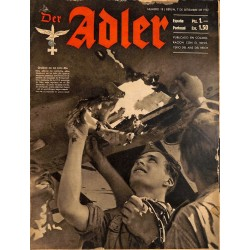 0836	 DER ADLER	 -No.	18	-1943 Spanish edition!	 vintage German Luftwaffe Magazine Air Force WW2 WWII