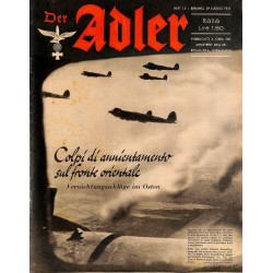0839	 DER ADLER	 -No.	15	-1941 Italian issue	 vintage German Luftwaffe Magazine Air Force WW2 WWII