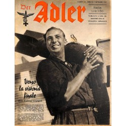 0843	 DER ADLER	 -No.	18	-1941 Italian issue	 vintage German Luftwaffe Magazine Air Force WW2 WWII