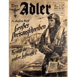 0848	 DER ADLER	 -No.	20	-1940 Italian issue	 vintage German Luftwaffe Magazine Air Force WW2 WWII