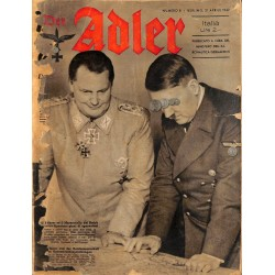 0853	 DER ADLER	 -No.	8	-1942 Italian issue	 vintage German Luftwaffe Magazine Air Force WW2 WWII