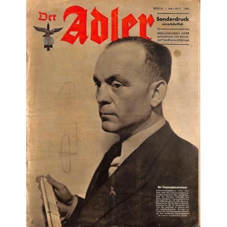 0858 DER ADLER -No.1.Mai Heft-1943 Sonderdruck vintage German Luftwaffe Magazine Air Force WW2 WWII
