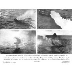 13803 WWII press photo print Deutsches Kampfflugzeug greift einen freindlichen Frachtdampfer mit Holzladung an 1941