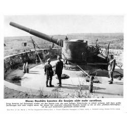 13817 WWII press photo print Dieses Geschütz konnten die Sowjets nicht mehr zerstören Russia, 1942, Serie 1521c