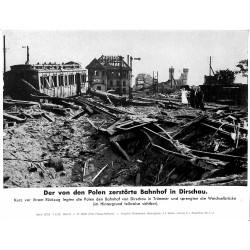 13859 WWII press photo print Der von den Polen zerstörte Bahnhof in Dirschau Poland, 1939, Serie 1373d
