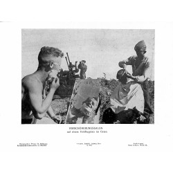 13863 WWII press photo print Verschönerungssalon auf einem Feldflugplatz im Osten Russia Photo Hoffmann
