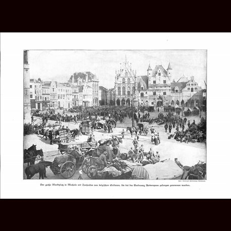 9002 WWI print German soldiers marketplace Mecheln with Belgium soldiers photo