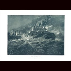 9003 WWI print Sea battle Coronel by Professor Hans Bohrdt