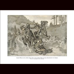 9004	 WWI print	 Cavalry horses Leutnant Mayer dies in Vogese/France by Hans Stubenrauch