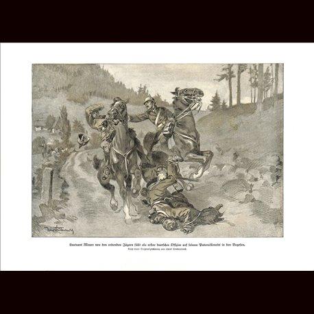 9004 WWI print Cavalry horses Leutnant Mayer dies in Vogese/France by Hans Stubenrauch