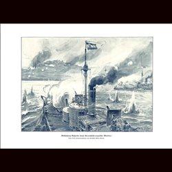 9005 WWI print Battle Marine ships Belagrd Hungro-Austrians Ships Kriegsmarine by Willy Stöwer