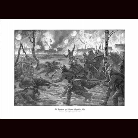 9006 WWI print German soldiers battle Lodz Poland