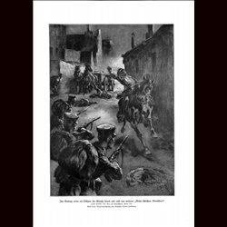 9009 WWI print horse Officer troops Wutschaete night by Anton Hoffmann