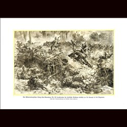 9012 WWI print German soldiers Würtembergischen König Karl-Grenadiere Nr. 123 North of La Harazee Argonnen France battle