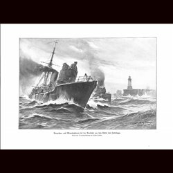9013	 WWI print	 German mine searcher boot Vorposten- und Minensuchboote Zeebrügge by Willy Stöwe
