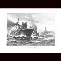 9013 WWI print German mine searcher boot Vorposten- und Minensuchboote Zeebrügge by Willy Stöwe