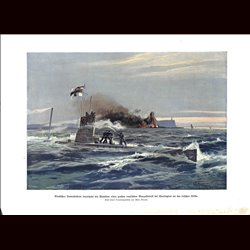 9015	 WWI print	 U-Boot submarine German Unterseeboot Harrington Benzol fabrique Irish coast Ireland by Willy Moralt