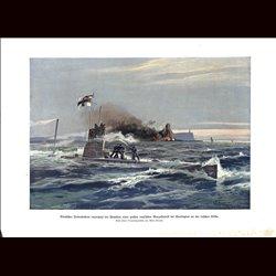 9015 WWI print U-Boot submarine German Unterseeboot Harrington Benzol fabrique Irish coast Ireland by Willy Moralt