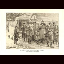 9016 WWI print Jews German Officers with jewish shoe dealers in a village in Russian Poland soldiers