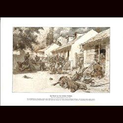 9017 WWI print German soldiers serbian village battle fights