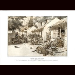 9018	 WWI print	 German soldiers serbian village battle fights