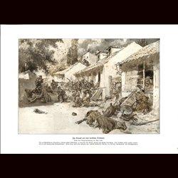 9018 WWI print German soldiers serbian village battle fights