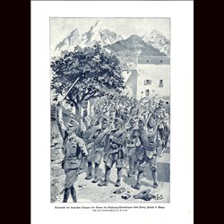 9021	 WWI print	 Hungro-Austrian soldiers Army of Erzherzog-Thronfolger Karl Franz Joseph in Asiago Italy