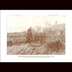 9022 WWI print French soldiers POW German cavalry sodliers Fleury June 1916 by Rocholl