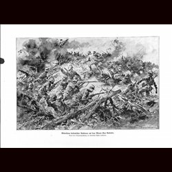 9026	 WWI print	 Hungro-Austrian soldiers against Italin troops Monte San Gabriele by Anton Hoffmann