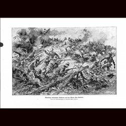 9026 WWI print Hungro-Austrian soldiers against Italin troops Monte San Gabriele by Anton Hoffmann
